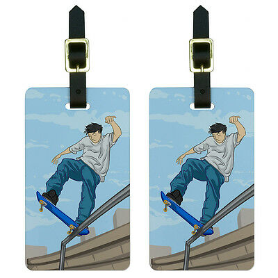 Skateboarder - Skateboarding Skateboard Luggage Suitcase ID Tags Set of 2