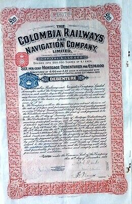 Colombian 1923 UK Railways Navigation £ 20 Coupons UNC Bond Share Loan Stock