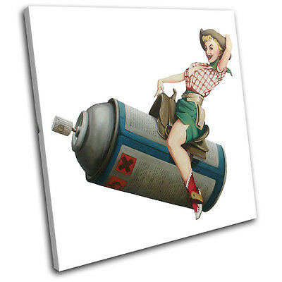 Cowgirl Banksy Painting SINGLE CANVAS WALL ART Picture Print VA