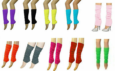 Ladies Girls Teen 80's Dance Plain Ribbed Leg Warmers Legwarmers 15 Colours Tutu