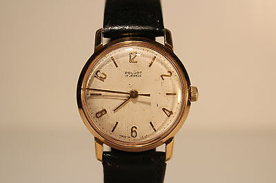"""VINTAGE MEN'S GOLD PLATED USSR RUSSIAN WATCH EARLY """"POLJOT """"17 J./RELIEF DIAL"""
