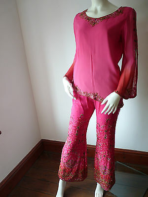 Asian Wedding Cerise Pink & Red Trouser Suit With Scarf   M   Ret £350   Bnwt