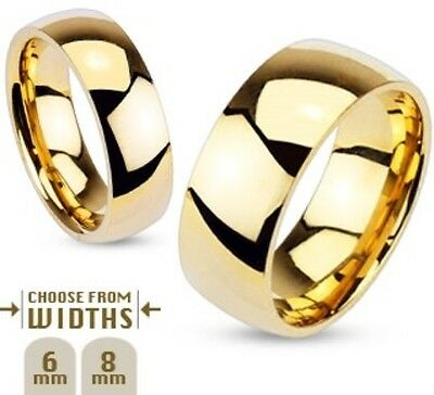 316L Gold Stainless Steel Ring-Mens/Womens/Couples/Wedding Band-Size 5-14 (R002)