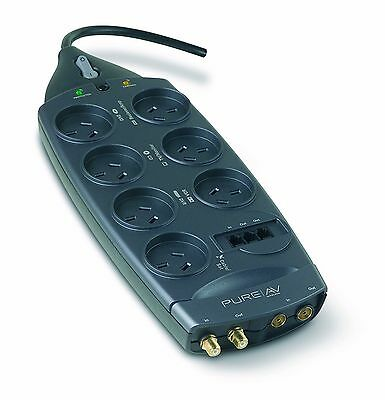 Belkin PureAV 7 Way Outlet Surge Protector Power Board Telephone Coaxial F-type