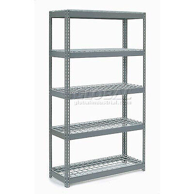 """Extra Heavy Duty Shelving 48""""W x 24""""D x 96""""H With 5 Shelves, Wire Deck"""
