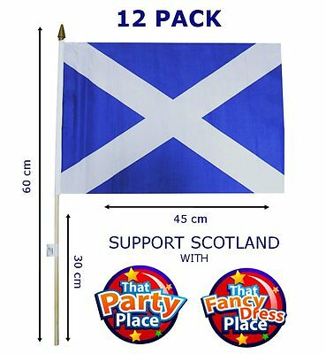 12 Pack of St Andrews Scottish Hand Flags For Burns Night Supper