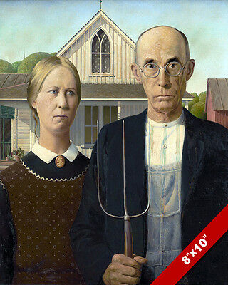 American Gothic Painting Grant Wood Fine American Art Real Canvas 8X10 Print