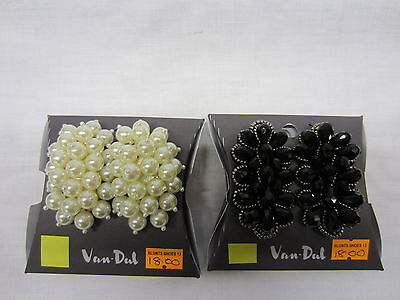 Van Dal Decorative Shoe Clips White Pearl or Black Bead