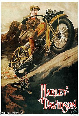 Motorcycle - Poster/Print - Harley Davidson  - Vintage Style Poster