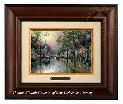 Thomas Kinkade Hometown Morning Framed Brushwork (Burl Frame)