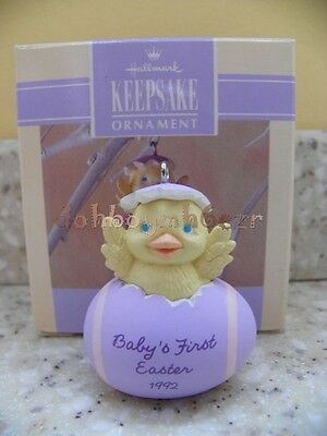 Hallmark 1992 Baby's First Easter 1st Egg Duck Spring Ornament