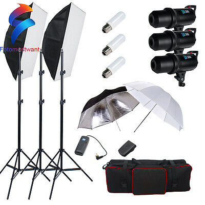 New Photography Studio 900W LED Digital Flash Strobe Soft Box Lighting Stand Kit