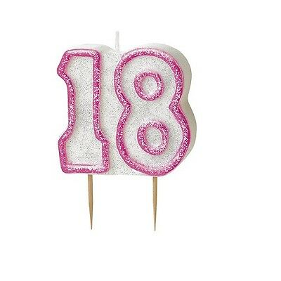 Pink Glitz Number 18 Candle 18th Birthday Cake Candles Party Decorations