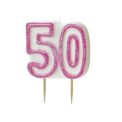 Pink Glitz Number 50 Candle 50th Birthday Cake Candles Party Decorations