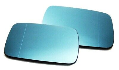 BMW E46 E39 Right+Left Wing Mirror Glass Blue Heated Aspheric Anti Blind Spot