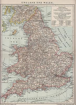 1890 UK GREAT BRITAIN ENGLAND & WALES  Antique Map