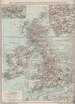 1890 UK GREAT BRITAIN & IRELAND SHIP LINES  Antique Map