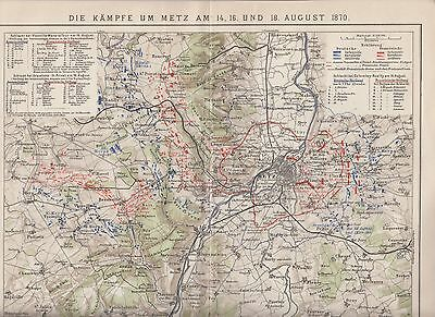 BATTLE OF METZ 1870 WAR FRANCE - PRUSSIA GERMANY Antique Map of 1903