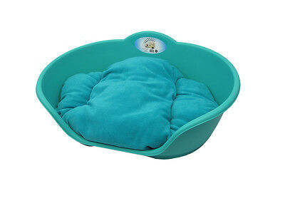 Large Plasticteal Aqua Green With Teal Cushion Pet Bed - Dog/cat Sleep/basket
