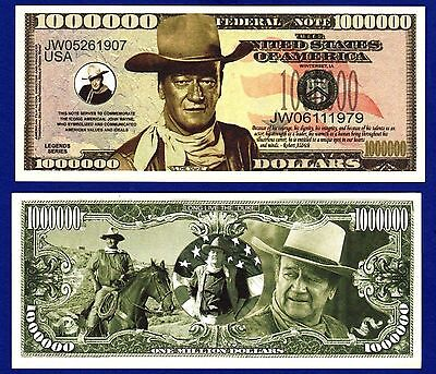 2-JOHN WAYNE MILLION DOLLAR BILLS TV- MOVIE -Actor -MOVIE- MONEY- NOVELTY -F3