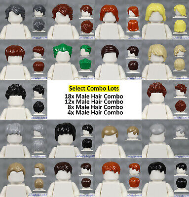 LEGO - Assorted Lots of MALE Minifigure Hair Pieces - Wigs Hat Cap Tousled