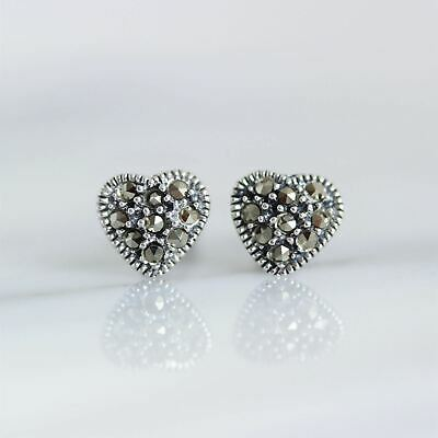 Sterling Silver 925 Marcasite Vintage Style Small Heart Stud Earrings RRP $40
