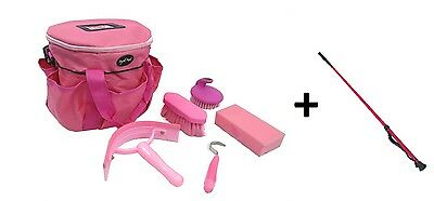 Grooming Kit + Crop Both In Pink For Horse/pony Made By Knight Rider