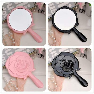 Black Pink Plastic Baroque-style Cosmetic Retro Womens Ladies Makeup Hand Mirror