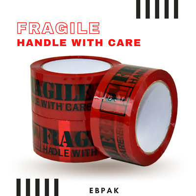 5 Rolls RED & Black Fragile Tape  75M x 48mm 75 meter Packaging Packing Tape