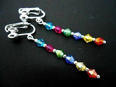 A Pair Of Rainbow Crystal Glass Bead  Silver  Plated Clip On Earrings. New.