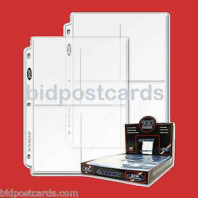 100 4-Pocket BCW Pro Postcard Photo Archival Display Pages Sheets Album Holders