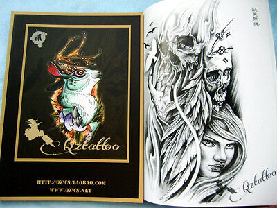 China Style QZ Old school Tattoo Flsh Book Vol.2 Skull Cat Birds Flower Dragon