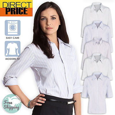 Ladies Shirt Blouse Business Work Blouse Top Womens Office Wear Formal Cotton