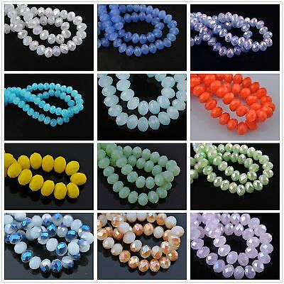 72pcs Faceted Glass Crystal Charms Rondelle Loose Spacer Jade Porcelain Beads