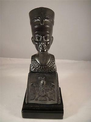 Vintage Nefertiti Egyptian Queen Bust on Decorated Plinth Wooden Base 9 in. VGC