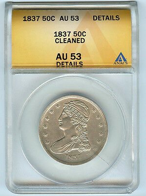 1837 50C Anacs Au 53 Details (About, Almost Uncirculated) Bust Half Dollar