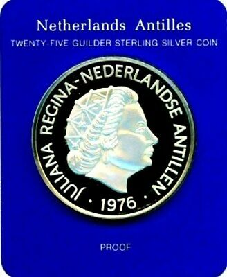 1976 Silver Netherlands Antilles 42 Grams Proof 25 Gulden  Ship Andrew Doria