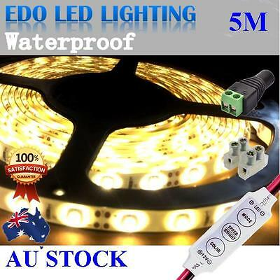 12V Warm White Flexible 5M 3528 SMD 300 Led Waterproof Led Strip Lights Car Boat