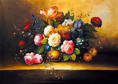 Frameless Hand Painted Oil Painting Still Life Vase Flowers Blooming A000221