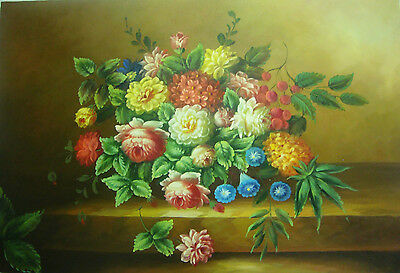 Frameless Hand Painted Oil Painting Multicolor Still Life Flower A000216
