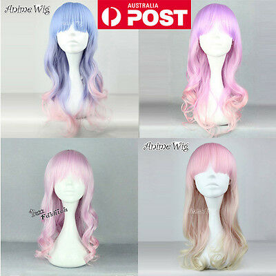 Lolita Pink/Purple/Blue/Green Long 60CM Curly Cosplay Fashion Harajuku Wig