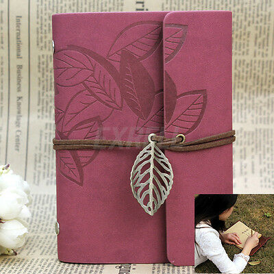 Vintage Wine Red PU Leather Cover Loose Leaf Blank Notebook Journal Diary Gift