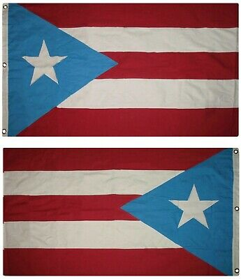 3x5 Embroidered Sewn Puerto Rico (Light) 100% Cotton Flag 3'x5' Banner 3 Clips