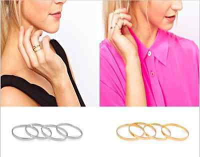5PCS Set Ring silver Gold stack Plain Cute Above Knuckle Ring Band Midi Ring L7