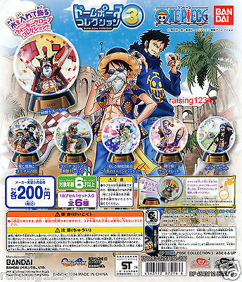 BANDAI One Piece Anime Dome Pose 3 Gashapon (Set 6 pcs) Water Globes Luffy Lucy
