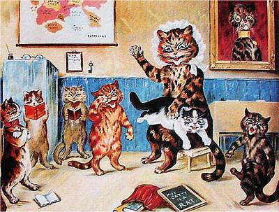 The Naughty Puss by Louis Wain Cat Spanking by Teacher Repro Postcard