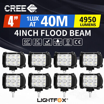 8x 4inch 30W CREE LED Light Bar Flood Beam Offroad Work Lamp Save on 35/45w 4/6""