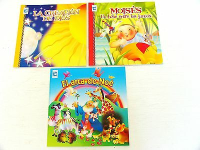 In Spanish lot 3 Bible story kids picture books Noah's Ark/Moses Christian