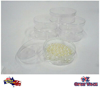 6 pieces Round Plastic Clear Storage Container Bead/Craft Item Storage 006