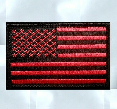 USA US UNITED STATES AMERICAN FLAG TACTICAL UNIFORM BLACK OPS RED IRON ON PATCH